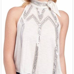 Free People Sequin Bow Top